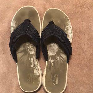 Clarks Navy Flip Flops size 10